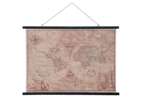 Wandkaart Wereld3  105x76cm