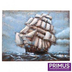 Primus 3D metalen schilderij 60x80cm zeilboot