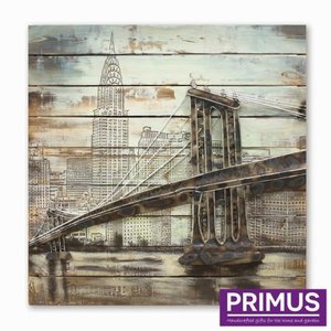 Primus Schilderij 3d metaal 80x80cm Brooklyn brug