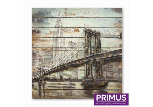 Schilderij 3d metaal 80x80cm Brooklyn brug