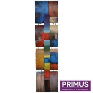Primus 3d metalen schilderij 31x125cm een mondriaan eerbetoon