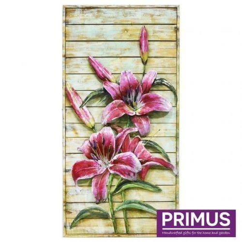 Primus Schilderij 3D metalen 60x120cm lelies