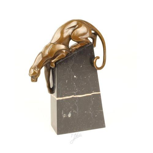 Bronzen beeld afdalende panter