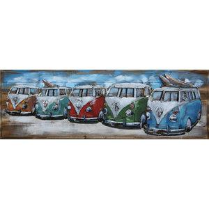 Schilderij metaal-hou 3d 5 busjes 50x150cm