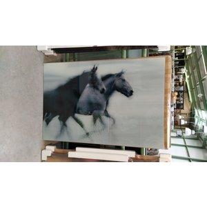 Glasschilderij paarden 80x120cm