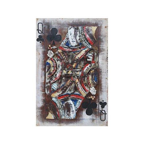 Metalen 3d schilderij Kaartspel Dame