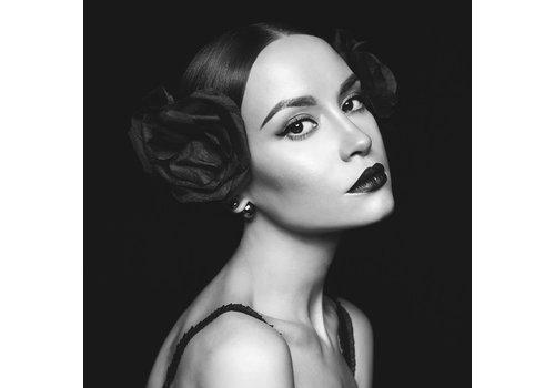 Glasschilderij 80x80cm Zwart-wit Portret