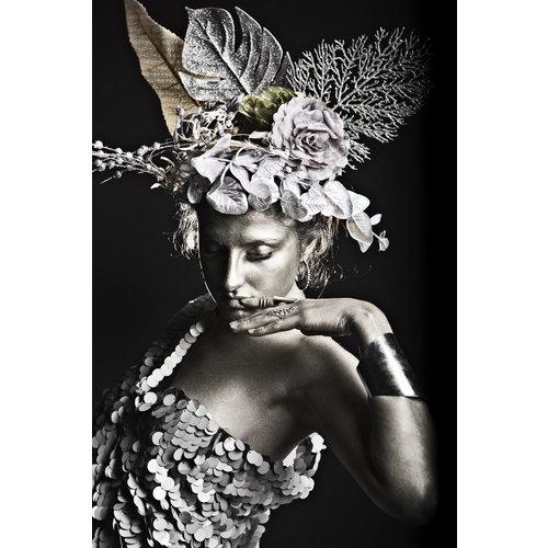 Glasschilderij Vrouw afrika met zilver folie