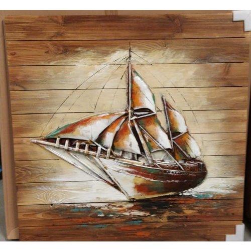 Schilderij 3d hout 90x90cm Zeilboot
