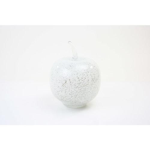 Glazen beeld Appel wit 20cm