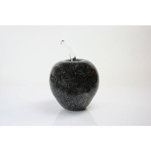 Glazen beeld Appel zwart 20cm