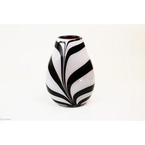 Vaas glazen Zebra rood 30cm