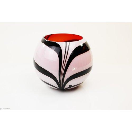 Glazen bolvaas Zebra 26cm
