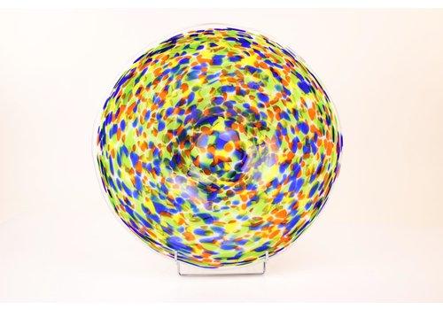 Glazen schaal wit met kleur stippen 42cm