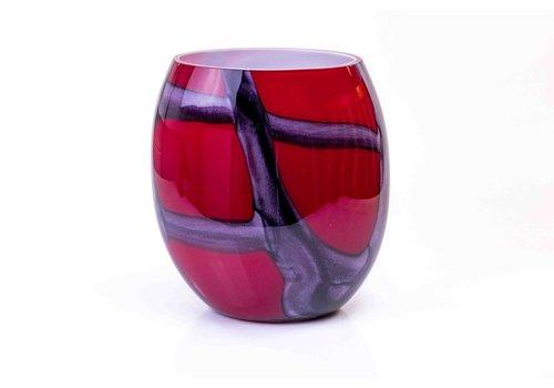 Vaas glas rood 30cm