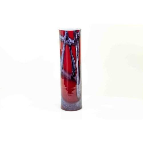 Glas vaas rood cilinder 50cm