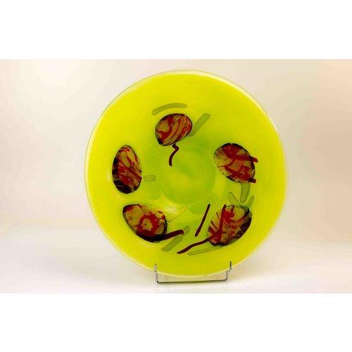 Glazen schaal Red Dot n Green 40cm