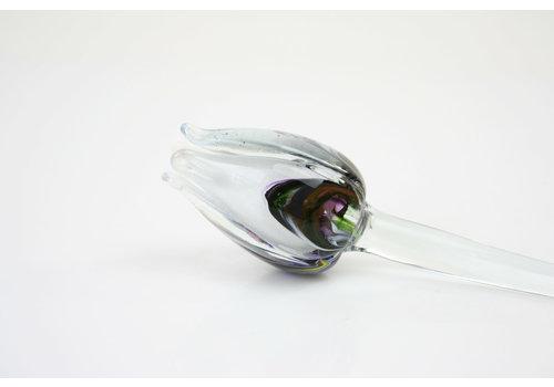 Glazen bloem Tulp multi wit
