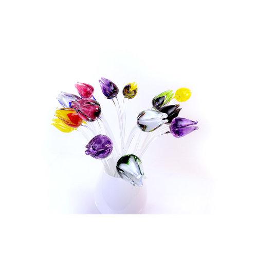 Bloem glas Tulp zwart/wit