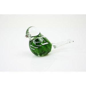 Beeldje glas Vogel groen met witte strepen