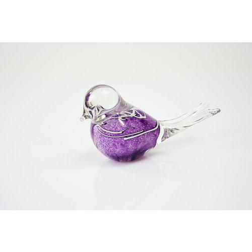 Beeld glas Vogel violet-paars met witte strepen