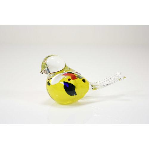 Beeldje glazen Vogel geel 12cm