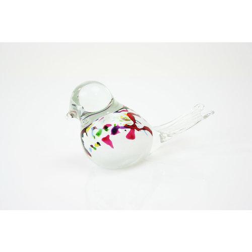 Glas beeld Vogel wit kleur mix 12cm