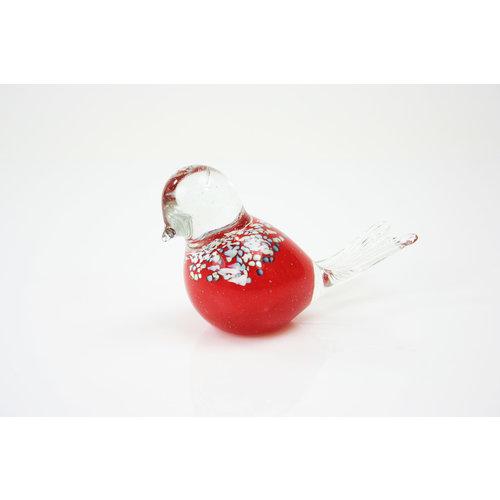 Beeldje glas Vogel rood/wit 12cm