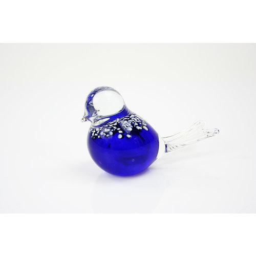 Glazen beeld Vogel blauw 12cm