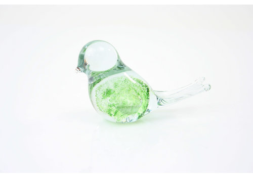 Glazen beeld Vogel groen met luchtbellen 12cm