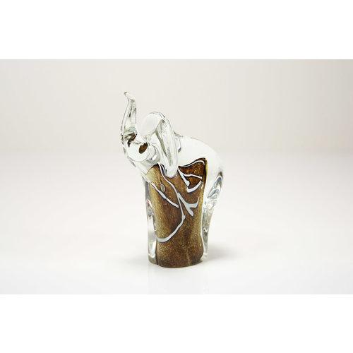 Olifant bruin met wit 13cm