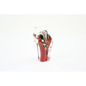 Olifant rood met kleur 13cm