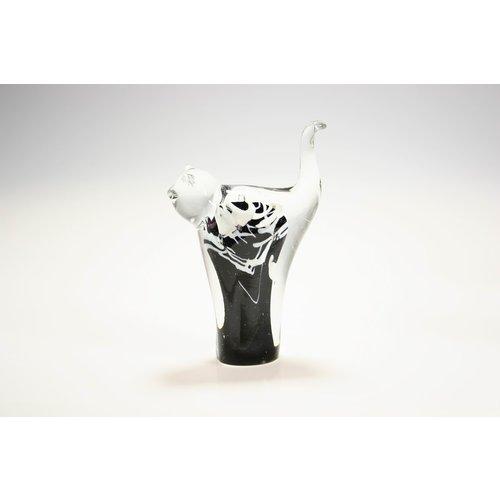 Kat zwart met wit 12cm
