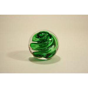 Glazen bol spiraal groen 8cm