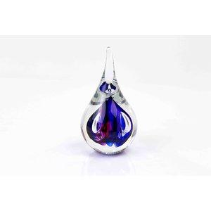 Kristalglas Druppel klein rond blauw/rood 12cm