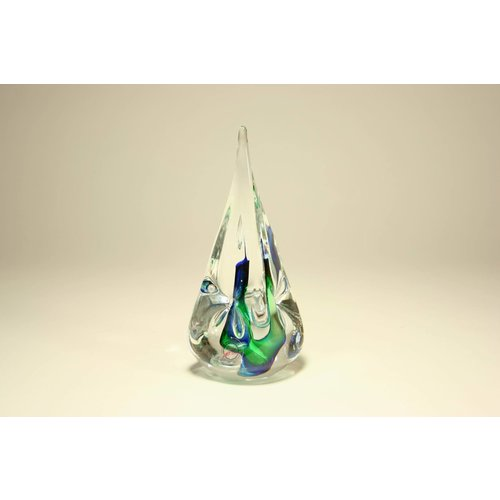Kristalglas Druppel groen/blauw vierkant 12cm