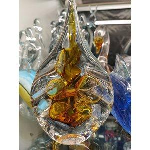 Kristalglazen Druppel goud bewerkte randen 12cm