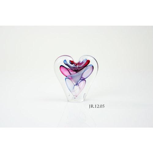 Kristalglazen object Hart multi 12cm