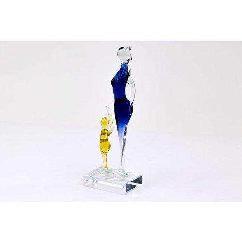 Glazen beeldje Moeder met kind 2 26x8cm