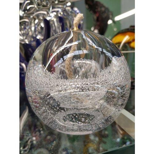 Glazen olielampje transparant met luchtbellen 10cm