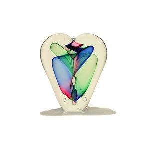 Glazen object Hart rood/groen/blauw 20cm