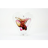 Glazen object Hart rood/bruin 20cm