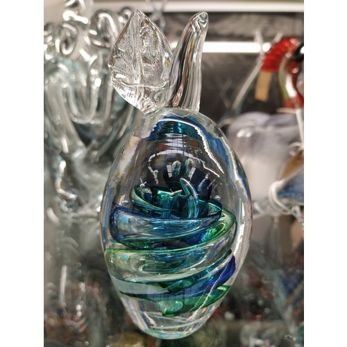 Kristalglazen beeld Fruit pruim groen/blauw 13cm