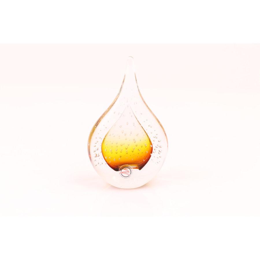 Beeldje glas Druppel met luchtbellen bruin 12cm