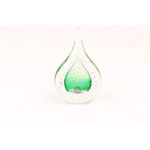 Glazen beeld Druppel met luchtbellen groen 12cm