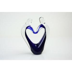 Glazen object Verbondenheid blauw 23-25cm