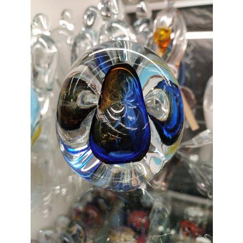 Presse papier kristalglas Driekhoek blauw