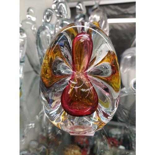 Kristalglas presse papier Driekhoek bruin/rood