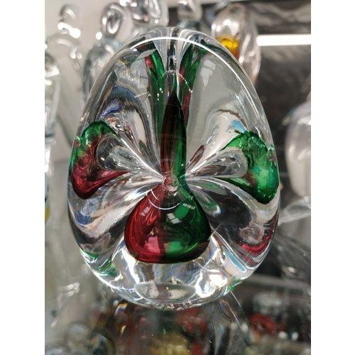 Kristalglazen presse-papier Driehoek groen/rood