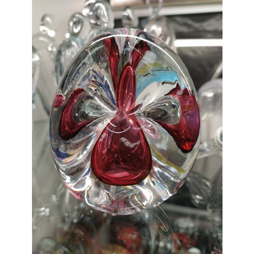 Kristalglas presse papier Driehoek rood